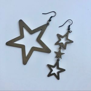 METAL STAR EARRINGS, in antique bronze / gold
